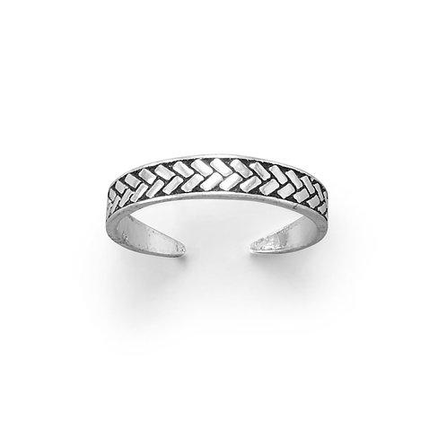 Wheat Design Oxidized Toe Ring