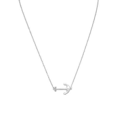 "16"" + 2"" Rhodium Plated Sideways Anchor Necklace"