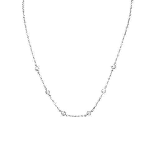 "16""+2"" Extension Rhodium Plated 6 Bezel Set CZ Necklace"