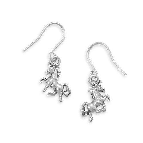 Pretty Prancing Unicorn French Wire Earrings