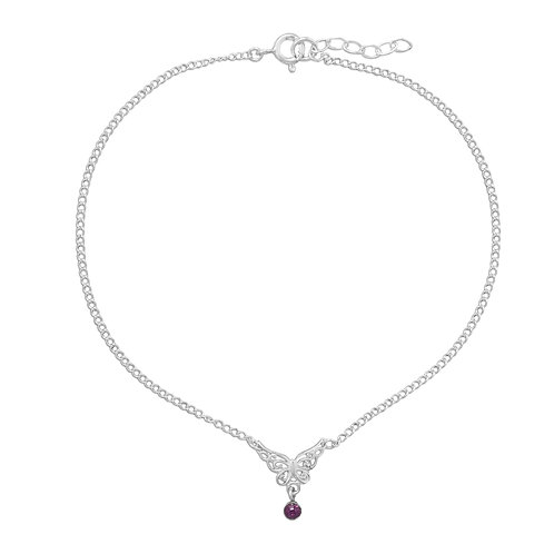 "9.5""+.5"" Butterfly Anklet with Purple Crystal Charm"