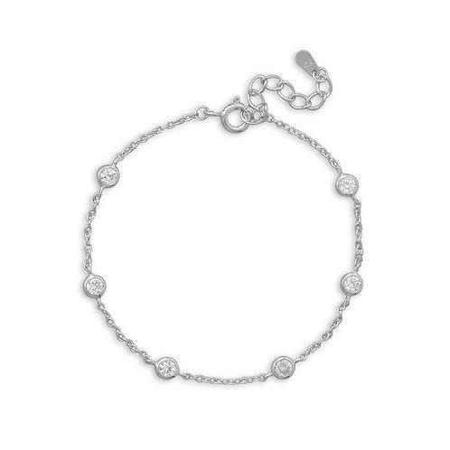 "7""+1"" Extension Rhodium Plated 6 Bezel Set CZ Bracelet"