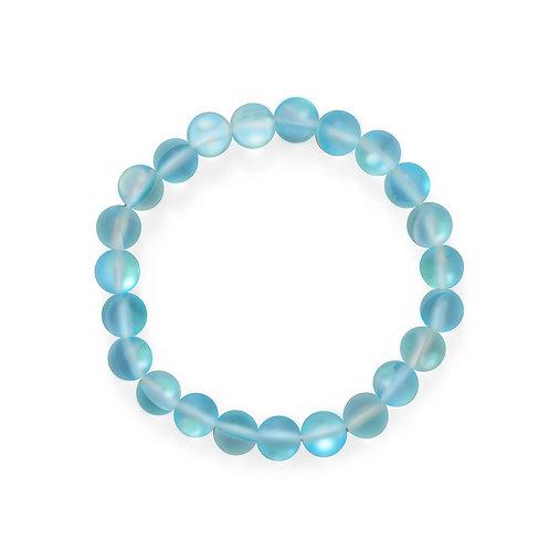 Beach Vibes! Light Blue Glass Stretch Bracelet
