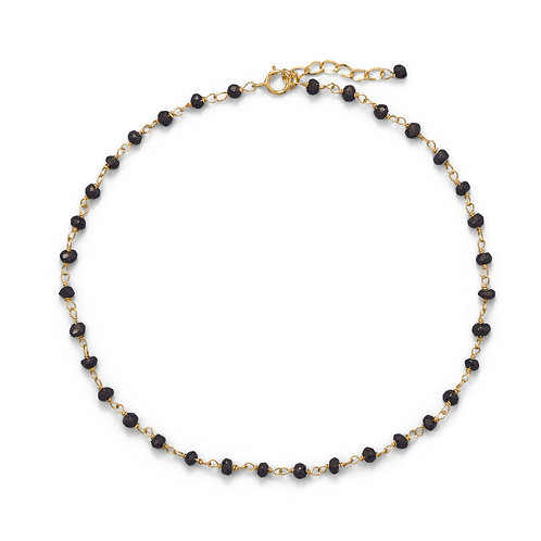14 Karat Gold Plated Black Spinel Anklet