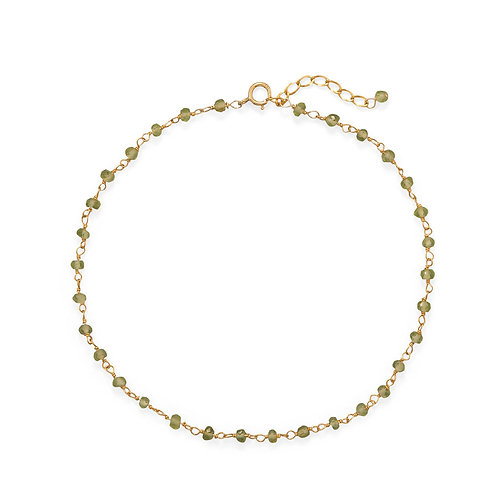Peridot 14 Karat Gold Plated Anklet