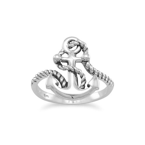 Oxidized Anchor Ring with Rope