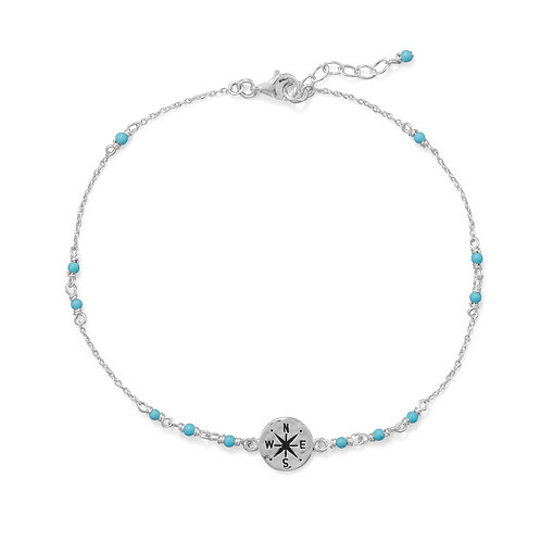 """9.25""""+.75"""" Blue Beaded Anklet with Compass Charm"""