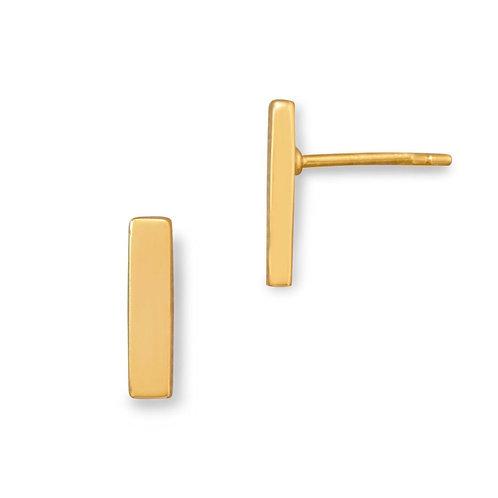14 Karat Gold Plated Bar Stud Earrings