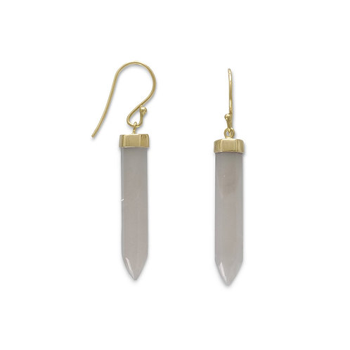 14 Karat Gold Plated Spike Pencil Cut Gray Moonstone Earrings