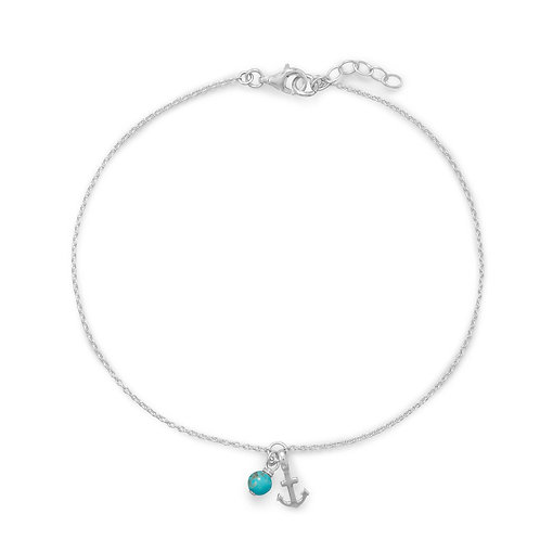 Anchor and Turquoise Anklet