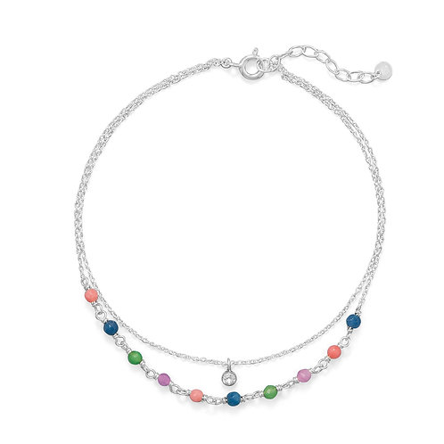 """9""""+1"""" Multi Color Jade and CZ Double Strand Anklet"""