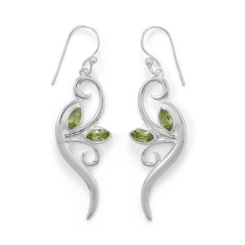 Peridot Leaf and Branch Earrings