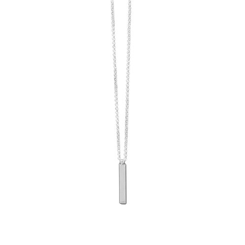 "18"" Sterling Silver Drop Bar Necklace"
