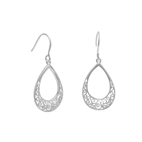 Tear Shape Filigree Design French Wire Earrings
