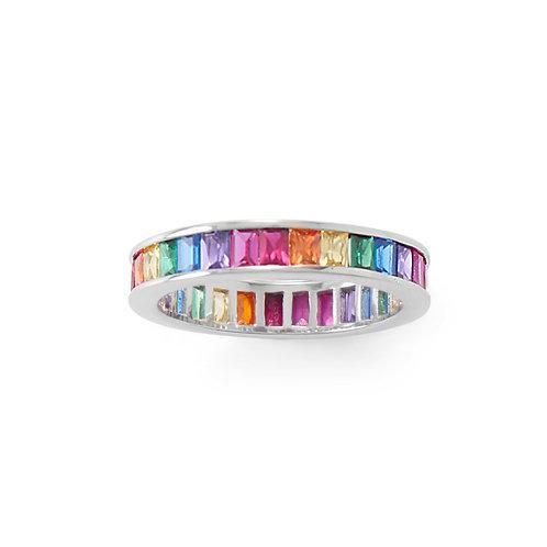 Rhodium Plated Rainbow CZ Ring