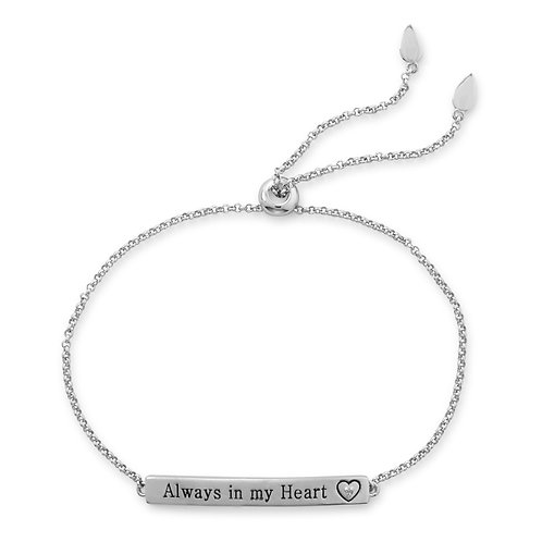"""Always in my Heart"" Bar Bolo Bracelet with Diamond"
