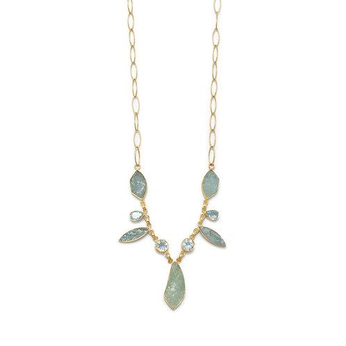 14 Karat Gold Plated Aquamarine and Blue Topaz Necklace