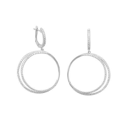 Rhodium Plated CZ Double Hoop Earrings