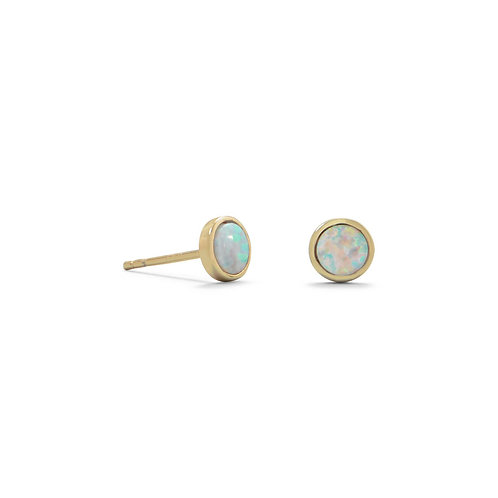 14 Karat Gold Plated Synthetic White Opal Studs
