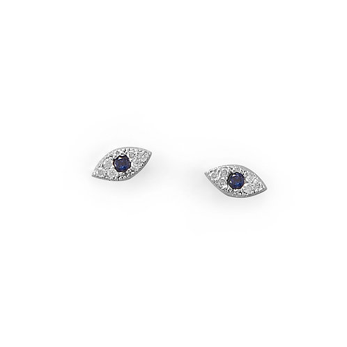Blue CZ Evil Eye Stud Earrings