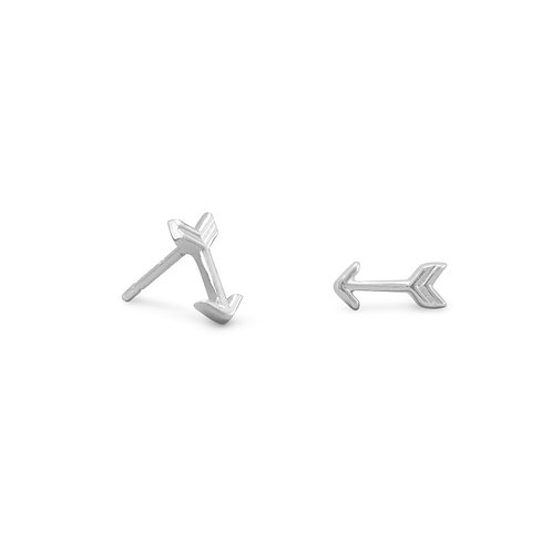 Rhodium Plated Small Arrow Earrings