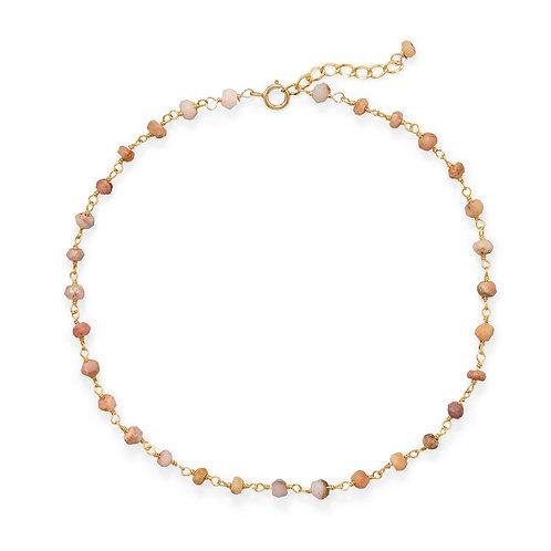 Pink Opal 14 Karat Gold Plated Anklet