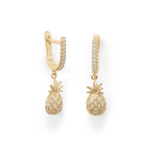 Summer Sweetness! Gold Plated Pineapple Earrings