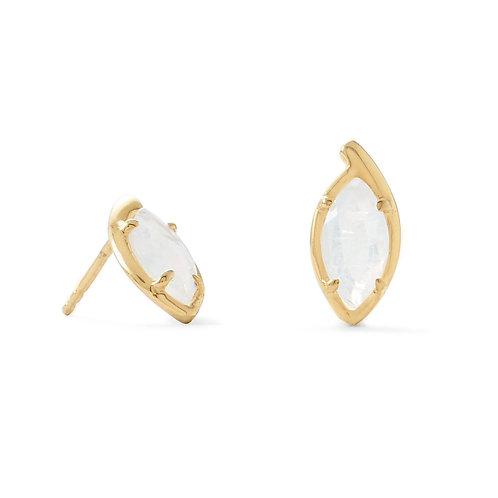 14 Karat Gold Plated Marquise Rainbow Moonstone Post Earrings