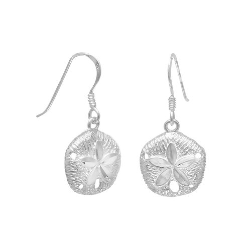 Diamond Cut Sand Dollar French Wire Earrings