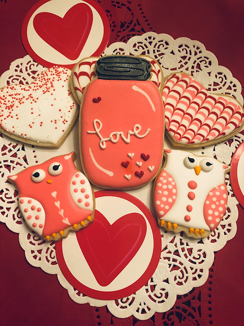 Valentine Mason Jar, Hearts, and Owls