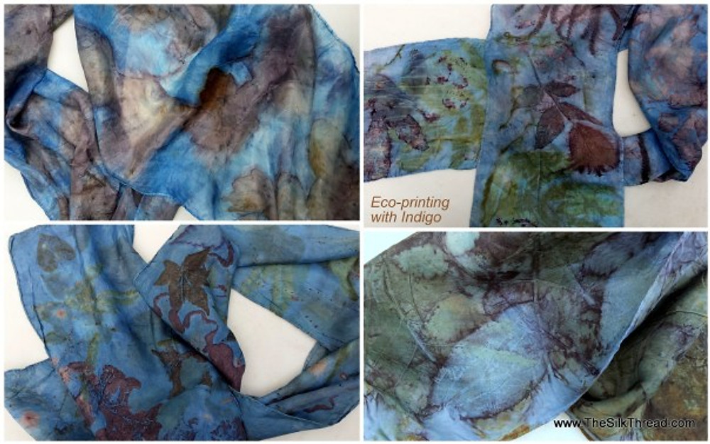 Four silk scarves, eco printed and indigo dyed.