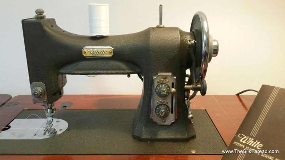 Close up of White Series 77 sewing machine