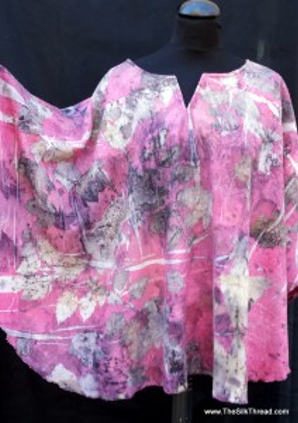 Handcrafted poncho dyed with cochineal
