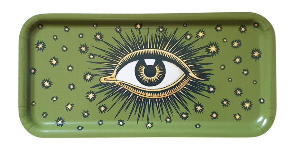 EYE WOODEN TRAY GREEN