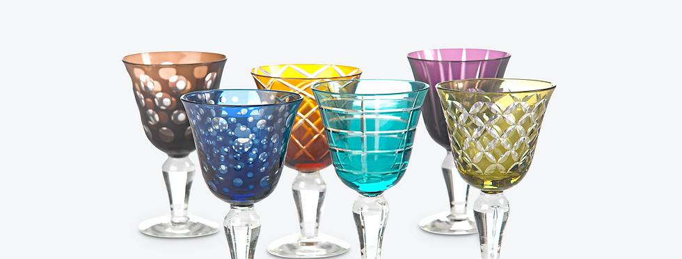 MULTICOLOR CUTTING WINE GLASS SET