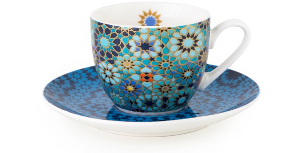CUP AND SAUCER MOUCHARABIEH BLUE - SET 4