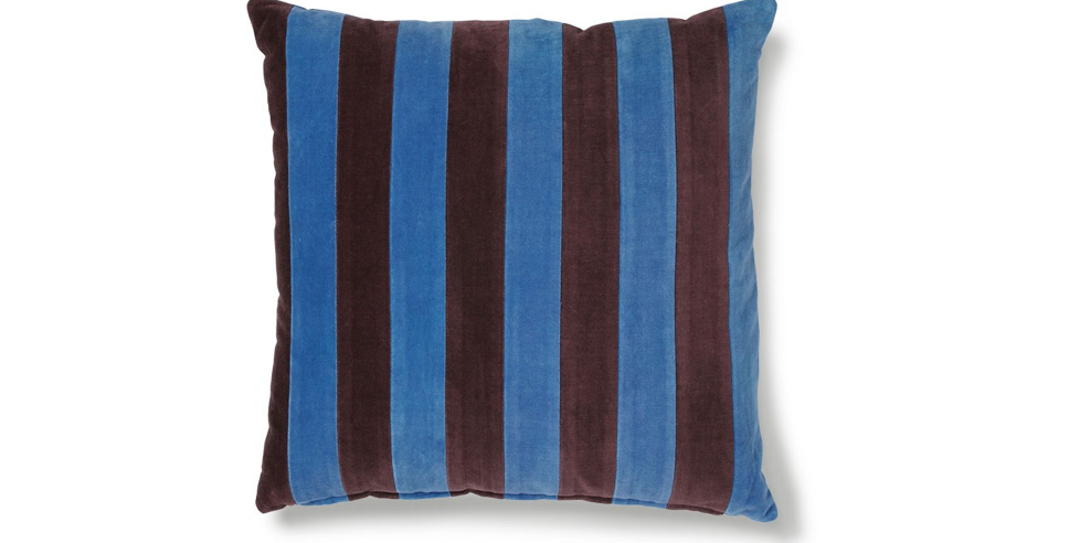 HK LIVING STRIPED VELVET BLUE/PURPLE CUSHION