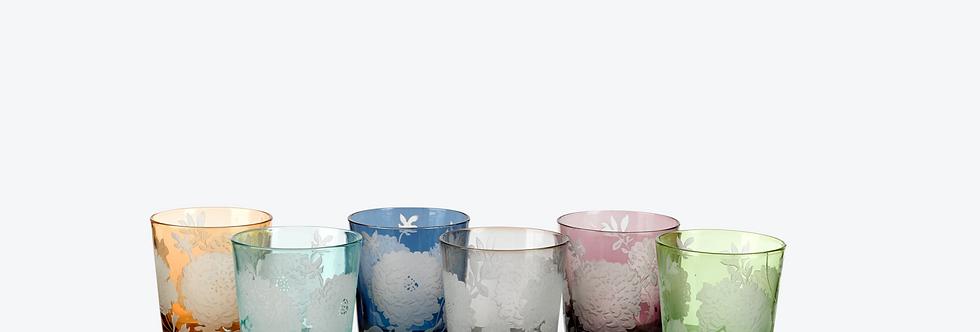 MULTICOLOR PEONY GLASS SET