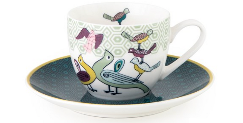 CUP AND SAUCER BIRDS OF PARADISE - SET 4