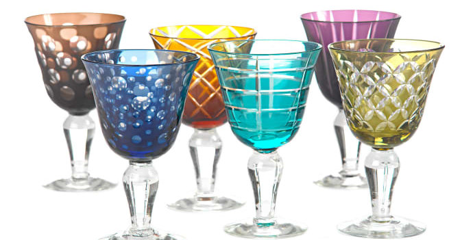 MULTICOLOR CUTTING WINE GLASS SET