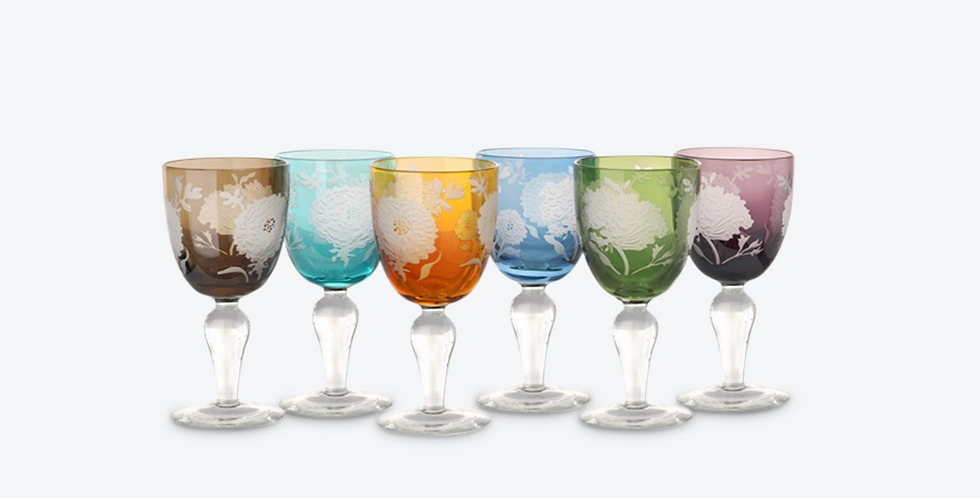 MULTICOLOR PEONY WINE GLASS SET 6