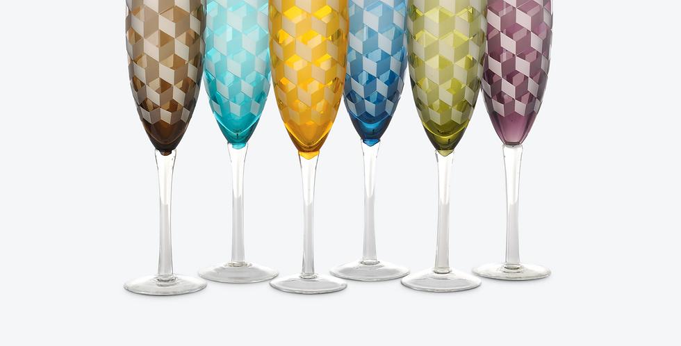 MULTICOLOR BLOCKS CHAMPAGNE GLASS SET 6