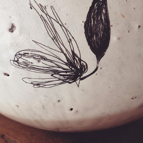 Flower drawing on bowl