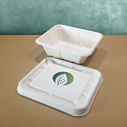 bagasse emballasje med trykk brett