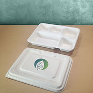 bagasse emballasje med trykk serveringsbrett