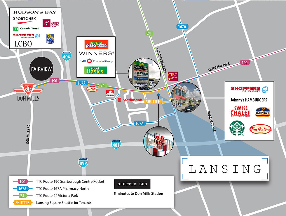 Map with transit and amenities of Lansing Square