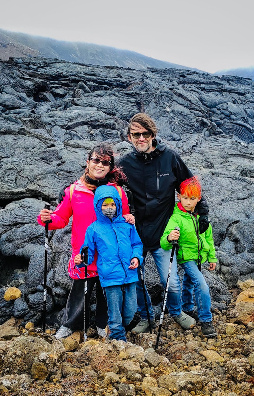 Family with kids during the Private Fagradalsfjall Volcano Tour with 2Go Iceland Travel.jp