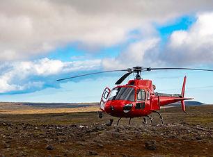2Go Iceland | Reykjanes Peninsula | Red Helicopter landed near Thrihnukagigu