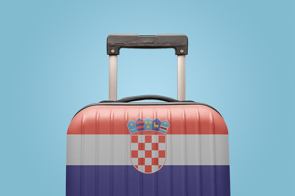 Suitcase with Croatian flag design trave