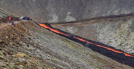 Fagradalsfjall volcano path A closed due to lava.jpg